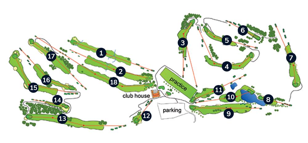 Plan parcours 18 trous - Golf la Cabre d'Or